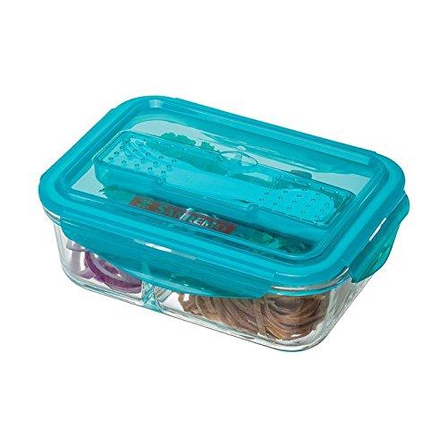 Pote Vidro Retangular com Divisória Marmita Sanremo Azul 1L Plástico