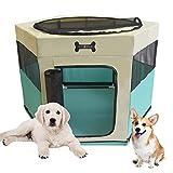 MC Star Parque de Juegos Corralito para Perros Portáti Entrenamiento Dormitorio Cachorros Gato Conejo y Pequeño Mascotas (Verde, 73 * 73 * 43CM)