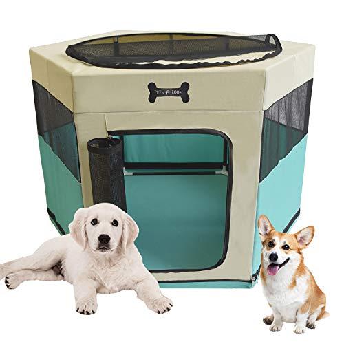 MC Star Parque de Juegos Corralito para Perros Portáti Entrenamiento Dormitorio Cachorros Gato Conejo y Pequeño Mascotas (Verde, 90 * 90 * 61CM)