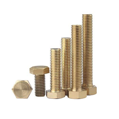 XFentech Kupfer Bolzen - Sechskantschrauben Nichtrostende Kupferschrauben Hardware Nägel,M6*30 (10 Stück)