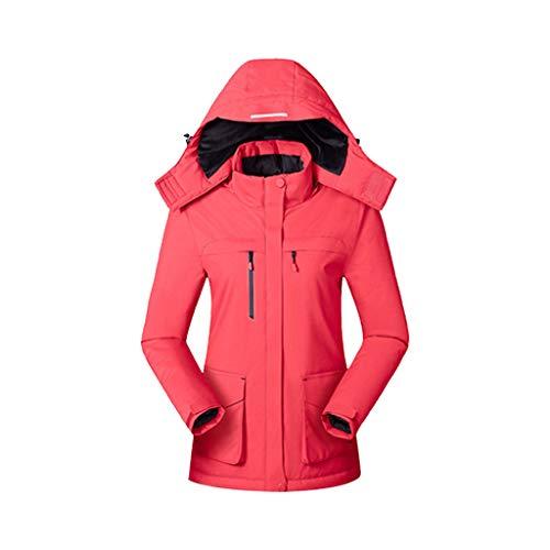 FNKDOR USB Beheizbare Jacke Damen Slim Heizjacke Mit Kapuze Wasserdicht Winddicht Warm Winterjacke für Outdoorarbeiten Ski Wandern Rot L