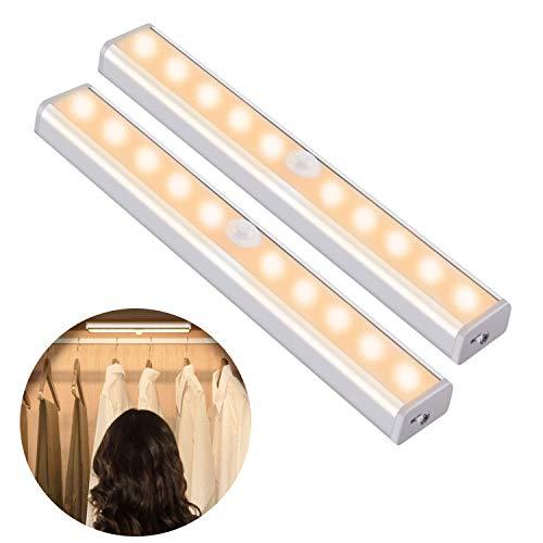 OUSFOT Schrankleuchten mit Bewegungsmelder Schrankbeleuchtungen LED Kabellos Kleiderschrank mit 4 Magnetstreifen Bildbeleuchtung Warmweiß 2PC Verpackung MEHRWEG