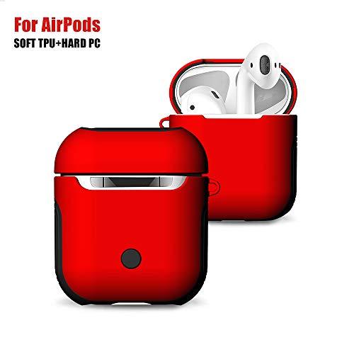 Adurei AirPods Case Custodia Protective Accessori Premium Matte TPU+PC Dual-Layer Portatile Addensare Cover, Antiurto Antiscivolo Resistente per Apple AirPods Coperchio(Rosso)