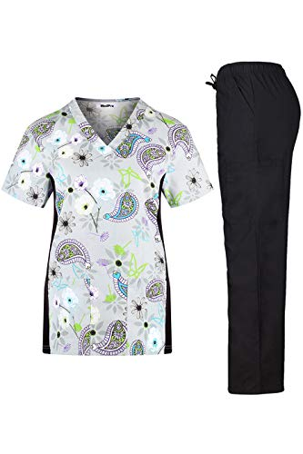 MedPro Women's Stretch Printed Medical Scrub Set V Neck Top and Cargo Pants Light Purple M