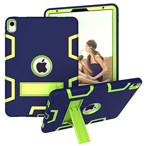 Ankoe Case for iPad Pro 11 Inch 2018 Release, High Impact Resistant Hybrid Heavy Duty Rubber Shockproof Protective Case with Kickstand for iPad Pro 11' 2018 (Navy+Olivine)