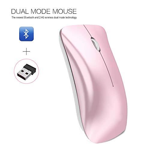 JAY-LONG 2.4G Kabellose Gaming-Maus, Optische Präzisionsmaus, USB-Kabellose Vertikale Wiederaufladbare Bluetooth 3.0-Maus Für PC/Laptop/Mac, 1600 DPI, Pink