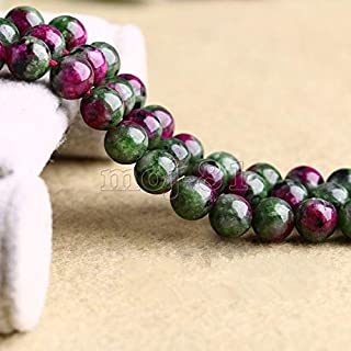 FidgetFidget 6/8/10mm Natural Ruby Emerald in Zoisite Round Gemstone DIY Loose Beads 15