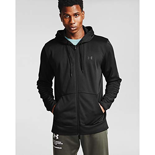 Under Armour Men's Armour Fleece Full Zip Hoodie , Black (001)/Black , X-Large