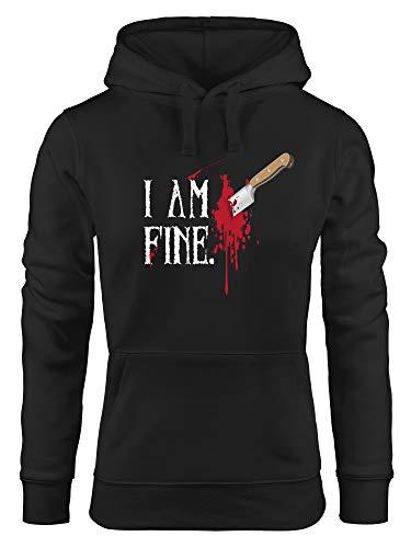 MoonWorks Hoodie Damen Halloween Wunde Messer I Am Fine Horror Fun-Shirt Stichwunde Kapuzen-Pullover schwarz S