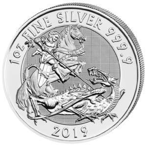 Silbermünze Valiant St. Georg der Drachentöter 2019 incl. Münzkapsel, 1 Unze, Differenzbesteuert nach § 25a UstG