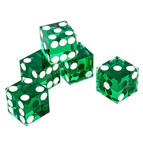 WOWOWO Dados Transparentes de acrílico 5 Piezas D6 Dados de Casino de 19 mm