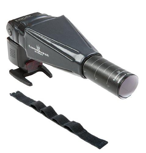 LumiQuest Snoot XTR con UltraStrap LQ-115S - Diseño único, produce iluminación intensa para flash de cámara externa, perfecto para fotógrafos, viajeros y aficionados (LQ-103 con correa)