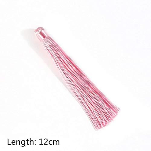 Miner 24 kleuren gemengde katoen zijden kwasten hangende hanger satijnen kwasten voor doe-het-zelf sleutelhanger gordijn kledingstuk woonaccessoires, roze, hoeveelheid 1 stuks