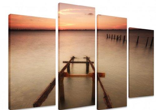 Immagine–multi split pannello canvas opere d' arte–rustico Sun Coast Seaside Beach Sea Ocean Sunrise Sunset–Art Depot Outlet–4pannelli–101cm x 71cm (101,6x 71,1cm)