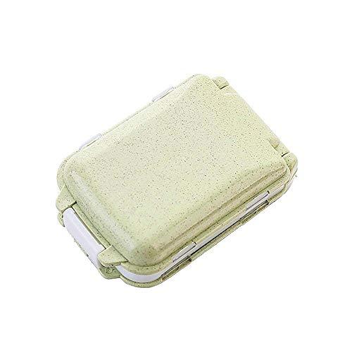 Lecez Caja de píldora pequeña plegable, caja de píldora portátil de estilo japonés de estilo japonés sellado con conveniente con paja de trigo para uso doméstico, azul, rosa, caqui, verde, 10x3.8x6.5c