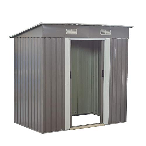 Panana Sheds 6 x 4ft Tool Storage House Metal Garden Apex Roof Storage Shed Door In 6FT Side (Grey)
