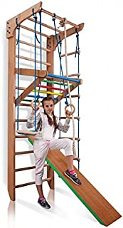 SportBaby Wooden Swedish Ladder, Wall Bars for Kids, Wood Stall Bar Kinder-3-220-Color - Certificate of Safe USE Home Gym Gymnastic, Climbing Kids, Indoor Children Playground 87