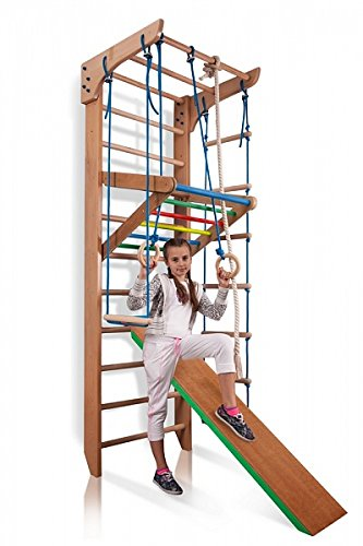 Wall Bars for Kids, Wood Stall Bar, Wooden Swedish Ladder, Kinder-3-240-Color - Certificate of Safe USE Home Gym Gymnastic, Climbing Kids, Indoor Children Playground 87