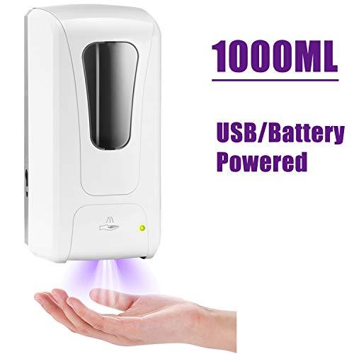 TTAototech Sensor inteligente Dispensador de jabón- 1000 ml sin contacto Dispensador automático de desinfectante de manos, Líquido 1ml, Sin desperdicio Bomba de jabón para baños, cocinas