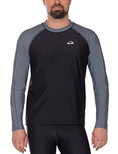 IQ-Company Lycra Loose IQ UV 300, Vêtement Anti-UV T-Shirt Homme Cendré Noir FR : XL (Taille Fabricant : XL (54))