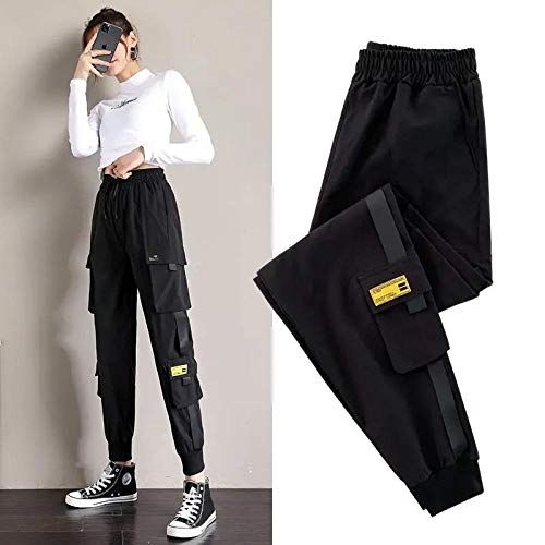 Dongwall Damen Casual Pants Jogginghose Women Streetwear Black Cargo Pants Casual Baggy Pants Damen Jogger Loose Hip Hop Hose Damen Korean Pants XL WomanPants