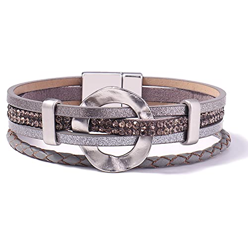 FANCY SHINY Leather Cuff Bracelet Circle Rhinestone Wrap Bracelet Stackable Multi Layer Wristband with Magnetic Clasp Boho Jewelry Gift for Women grey
