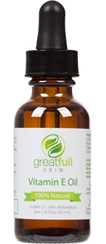 Vitamin E Oil By GreatFull Skin, 100% Natural - Best Way to Treat Dry Skin, Scars, and Stretch Marks...