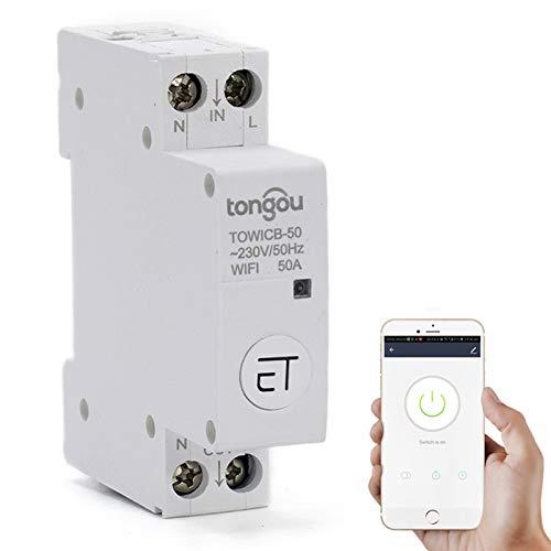 XUANWEI Disyuntor remoto WiFi EWeLink APP interruptor de carril de control inalámbrico, uso con Amazon Alexa Google Home