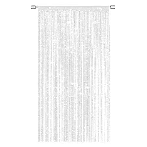 NANAD Jazz Glitzer-Faden-Vorhang, Fadenvorhang, Glitzerfaden, Tür oder Fenster, 100 x 200 cm, perfekt als Fliegengitter, weiß, Free Size