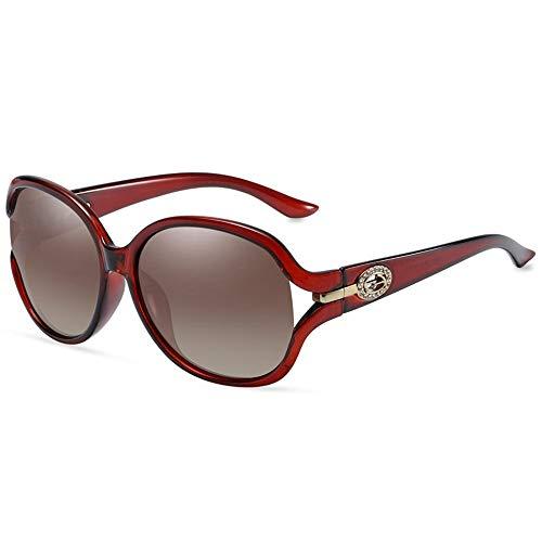NgMik Gafas De Sol Polarizadas Damas UV Gafas De Sol Polarizadas Cara Redonda Polarizada Antirreflejo De Conducción De Ciclo De Compras Clásico (Color : Red, Size : One Size)