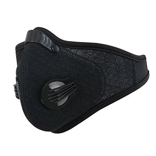 TDORA Staubgesichtsmaske, Luftverschmutzungsrauchmaske Aktivkohle-Gesichtsabdeckung PM2.5 Luftfiltermaske, Atemventilmaske Mundabdeckungsmaske zum Laufen Radfahren Motorradfahren Skifahren