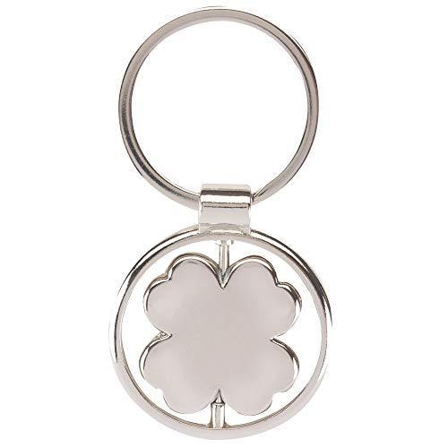 Kleeblatt rotierend Schlüsselanhänger Metall in Geschenkbox | Geschenk für Männer | Frauen | Damen | Glück | Glücksbringer | 4-blättrig | Klee |