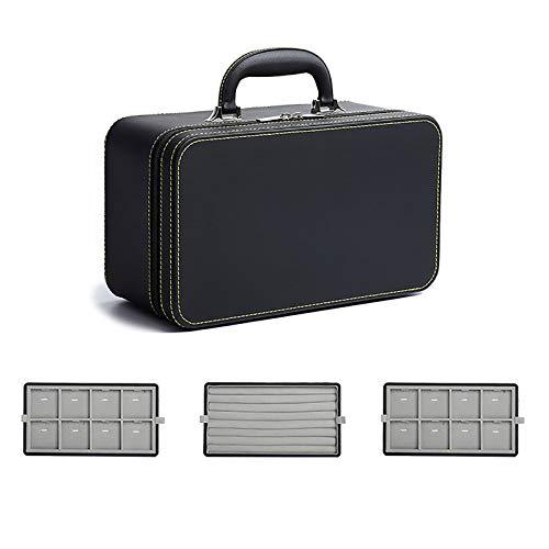 DAQIAO Joyero de Viaje 3 Capas Cajas Caja de Joyas con Asa Cuero PU Rectangular para Guardar Joyas (Negro)