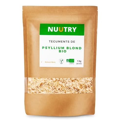 Psyllium Blond Bio Tegument - Excellent pour la Digestion du Transit , la Constipation et le Microbiote - Coupe Faim Naturel en Poudre Fine - Apport en Fibre 1kg - Pures 99% - Conditionné en France