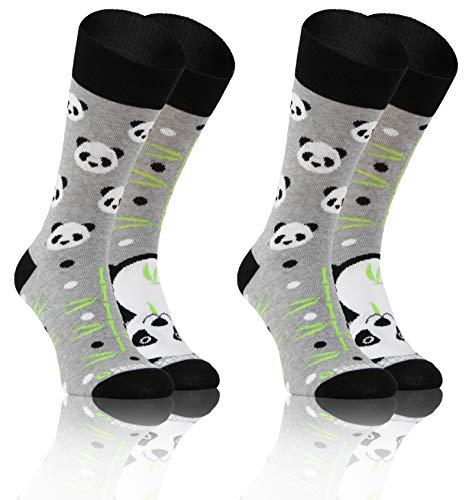 Sesto Senso Lustige Bunte Verschiedene Socken Baumwolle 2 Pack Unisex Bambus Bamboo 43-47 Panda