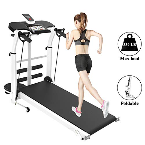 Folding Walking Treadmill, Non-Electric Incline Machine with LCD Monitor Display and Twin Flywheels for Home Gym,Cardio Stride Fitness Exercise Workouts Training Indoor,Black,110 * 115 * 55 cm