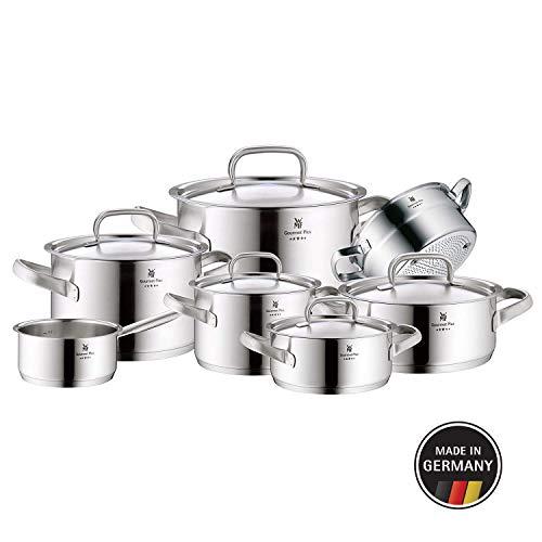 WMF Gourmet Plus Topfset 7-teilig, Cromargan Edelstahl mattiert, Töpfe mit Metalldeckel, Induktionstöpfe, Topf Induktion, Innenskalierung, Dampföffnung, unbeschichtet