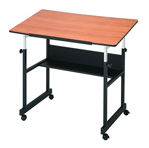 Alvin MM40-3-WBR MiniMaster II Table Black Base with Woodgrain Top, Cherry, 40W x 24D in.