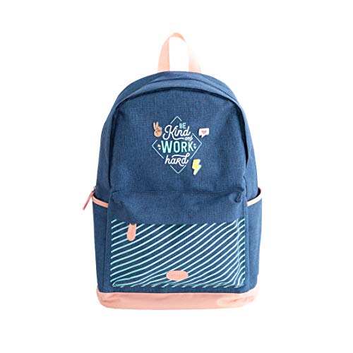 Mr. Wonderful Mochila Azul, Backpack - Be kind and work hard Unisex niños, Multicolor, Talla única