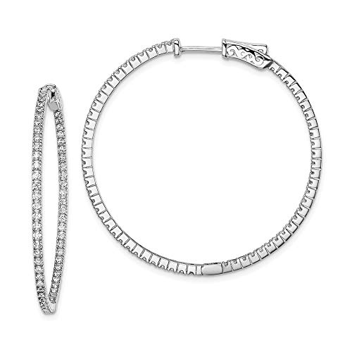 925 Sterling Silver Cubic Zirconia Cz In Out Hinged Hoop Earrings Ear Hoops Set Fine Jewelry For Women Gifts For Her
