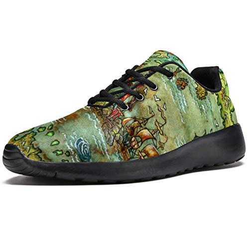 Zapatillas deportivas para correr para mujer antiguas, retro, con mapa del mundo antiguo, brújula náutica, de malla, transpirables, para caminar, senderismo, tenis, color, talla 40 EU