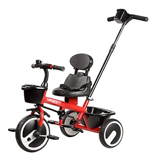 TANKKWEQ Triciclo de cochecito plegable, niños de bicicleta menores de 16 años de balanceo, antes y después de la canasta de almacenamiento de alta capacidad, el titular del émbolo y la copa móvil, un