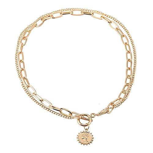 WEFH Collar Retro con Colgante de Moneda de Doble Capa, Gargantilla de Cadena OT, Collar en Capas, Dorado