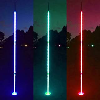 Light Up Night Golf Flags (Set of 3) - 6.5 ft Glowing Night Golf Pin Flags
