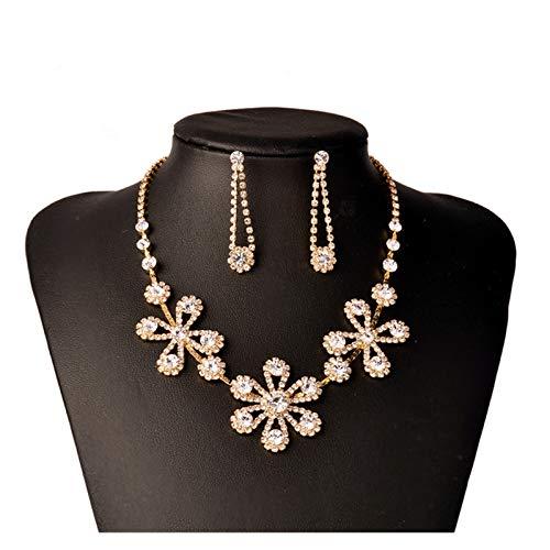 DSJTCH Joyería de Oro sudafricana Conjunto de decoración Plum Blossom Diamante Collar Oído Círculo Accesorios de Boda (Color : Golden)