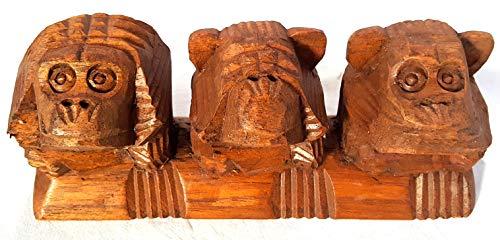 Artigianato etnico Scimmiette scolpite nel Legno, Non Sento, Non Vedo, Non Parlo