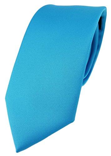 TigerTie TigerTie Designer Krawatte in türkisblau einfarbig Uni - Tie Schlips