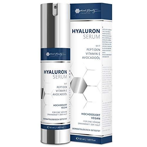 TESTSIEGER 2020: Veganes Anti-Aging Hyaluron Serum mit 3 hochdosierten quervernetzten Hyaluronsäuren, Peptiden, Vitamin E und Avocadoöl. Creme für Augen, Gesicht und Dekolleté - Made in Germany