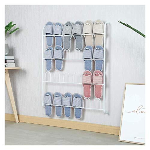 Caballo de colgaje de zapatos, estante 4Tier para zapatillas Montado en la pared sobre la puerta Organizador de zapatos Ganchos de metal para el accesorio de la cocina de la despensa de armario - Ahor