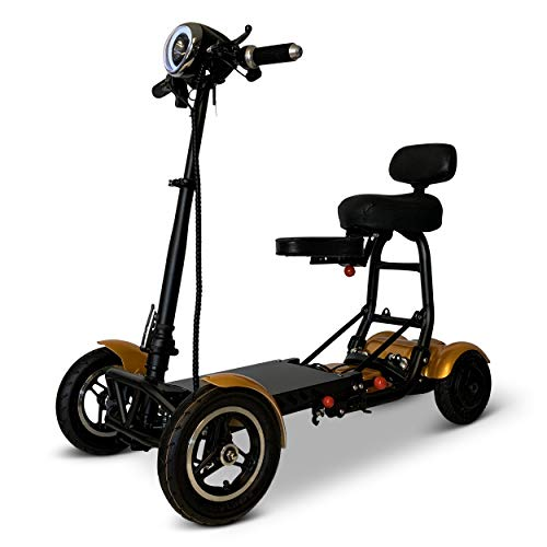 Fold and Travel Mobility Scooters for Adults 4 Wheel Long Range Mobility Scooter Electric Wheelchair Power (Gold)